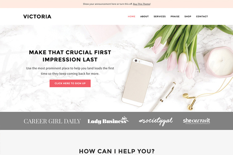 Screenshot of feminine wordpress theme Victoria by BluChic